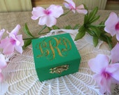 Wedding Ring Box Monogram Engraved with Burlap Lining  - Unique Personalized Ring Bearer Pillow Alternative - Item 1637