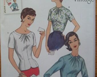 Simplicity 1278 Vintage Blouse Pattern Retro 1950's Fashion