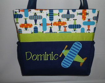 AIRPLANE  .. DIAPER Bag .. Applique   ... Bottle Pockets ..  Personalized Free