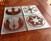 Etched Glass Star Wars Coaster Set Inverse
