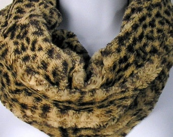 Leopard Fur Scarf Leopard Fake Fur Scarves Faux Fur Leopard Infinity Scarf Cheetah Infinity Scarf Faux Fur Cheetah Infinity Fake Fur