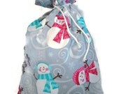 Christmas Fabric Gift Bag  Eco Friendly Drawstring Bag----Reuseable size 10 inches x 13 inches Gray Snowmen