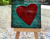 Little Textured Heart Painting with stand
