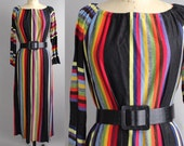 S A L E || rainbow maxi dress | vintage striped sweater dress | 1970s elastic neckline dress with bell sleeves | S-M