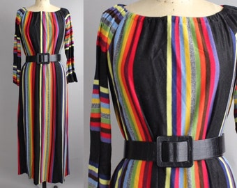 Vintage 1970s Rainbow Maxi Dress | Rainbow Striped Sweater Dress | Elastic Neckline Dress with Bell Sleeves | S-M