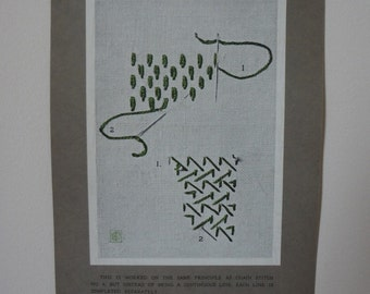 Antique Edwardian Embroidery Instruction Card Print #8 Link Powdering Stitch - EnglishPreserves