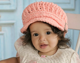 Toddler Girl Newsboy Hat 2T to 4T Peach Toddler Hat Toddler Newsboy Cap Crochet Newsboy Knit like Buckle Toddler Girl Clothes Orange Hat