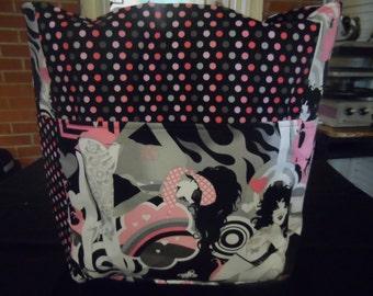 tattoo ladies pink grey black large tote bag/purse/ diaper bag