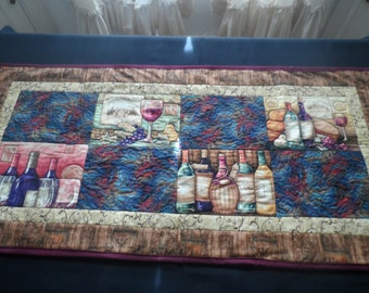 wine wine bottle brown purple quilted table runner