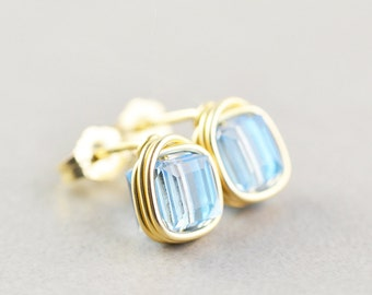 Blue Swarovski Crystal Post Earrings, Light Blue Studs, Sky Blue Posts