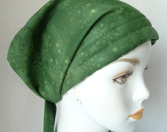 Classic Green Snowflake Chemo Cancer Hairloss Scarf Turban Hat Headwrap