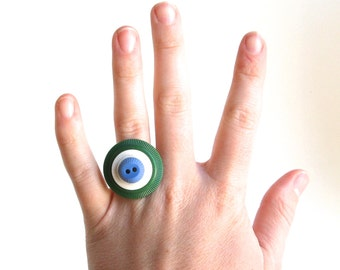 Adjustable Ring Green and Blue Vintage Button