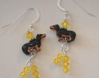Black & Tan DACHSHUND DOG Earrings - Sterling Silver French Earwires