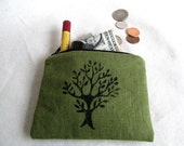 Linen Coin Purse // Small Zipper Pouch //  Hand Stamped Linen Card and Coin Purse