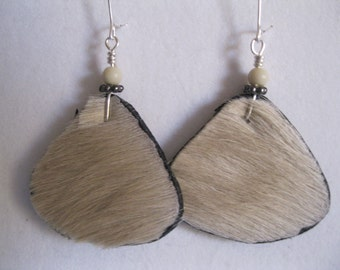 Hair on Leather Disk Earrings - Rounded Triangle in off White with an Off White clay bead. SilverPlated  earwires