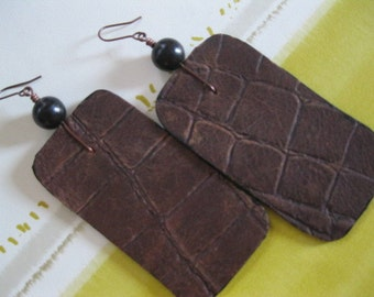 Leather Rectangular Disk Earrings - Brown with Coffee Brown Ultrasuede and  Black Ebony wood  bead.  Antiqued Copper earwires.