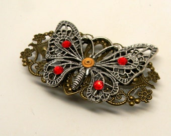 Steampunk large butterfly with crystals brooch pin. Steampunk jewelry.