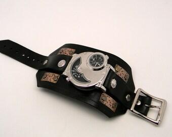 SALE ..Steampunk watch. Steampunk wrist watch. Biker watch.