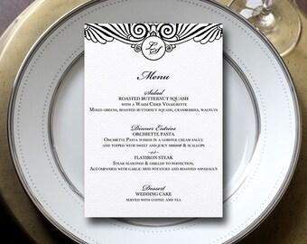 Art Deco Wedding Menu, Art Deco Menu, Great Gatsby Menu, Vintage Menu {set of 25}