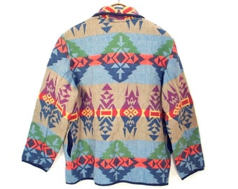 vintage 80's 90's SOUTHWEST jacket // pastel ethnic cotton tapestry // L / XL