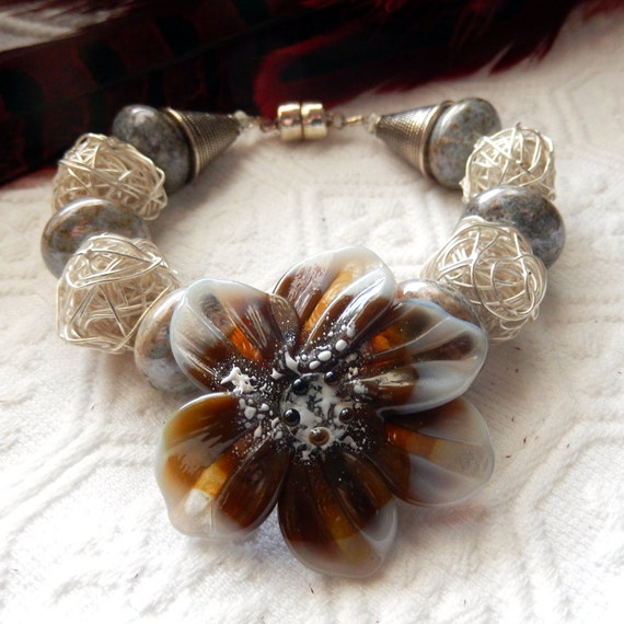 SALE........One of a Kind Sterling Silver, Lampwork Glass and Raku Bracelet