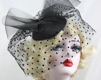 Black Hat, Women's Hat, Fascinator, Hair Accessory, Polka Dot Veil, Birdcage Veil, Black Bow, White, Ivory, Black Headband, High Fashion