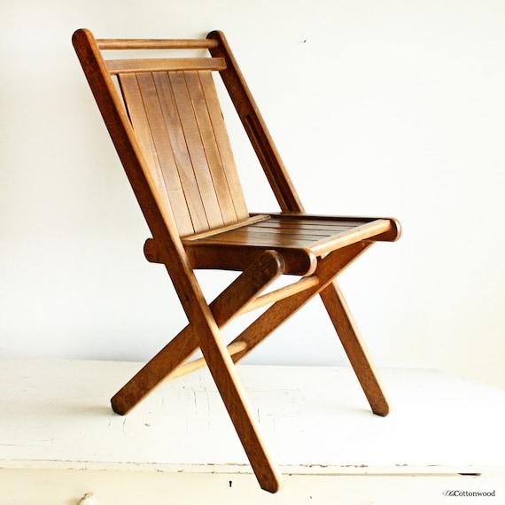 Vintage Wood Folding Chair Wood Slats All Solid Hardwood