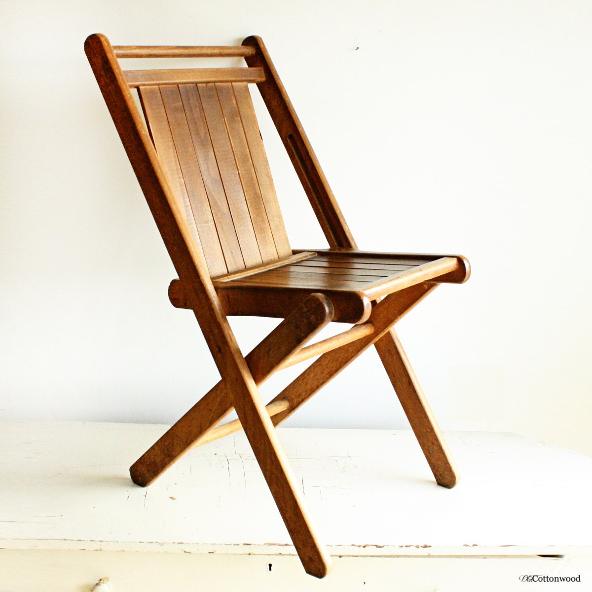 Vintage Wood Folding Chair Wood Slats All Solid Hardwood