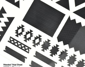 Tribal Themed Vinyl Nail Decal Sheet 117 pieces for nail art, plus 90 mini shapes.