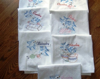 Bluebirds Days of the Week embroidered flour sack towels, set of 7, machine embroidery, vintage pattern