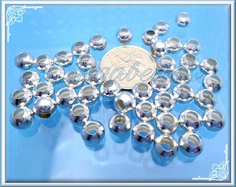 100 Silver Plated Round Spacer Beads 6mm