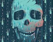 Blue Skull Print - Halloween Illustration - Tear Drops Art - Crystal Tears - Skeleton Illustration - Pink and Brown Variants - Modern Art