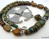 Necklace, Earthy Organic Rugged Natural Green Turquoise Gemstones, Large Vintage Pewter Cross, Historical Inspirational Faith