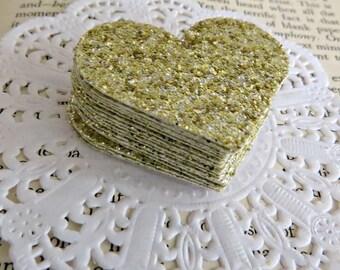 Gold Glittery Cardstock Heart Embellishments Small Pk 25 - Christmas, Engagement, Wedding, Birthday
