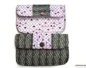 Bridesmaid Clutches Matching Set of Two  in Charcoal and White with Purple