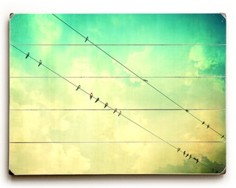 Pallet Art Photography Art On Wood, Birds On A Wire, Turquoise Decor, Art For Laundry Room, Art For Nursery, Bird Art, Large Wall Art