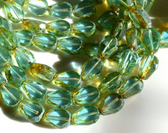 Aqua Celsian Flat Fire Polish Faceted Czech Glass Teardrop Beads  25