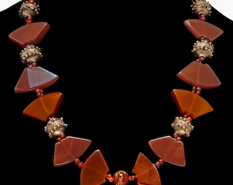 Protection Necklace: Moroccan & Carnelian Specialty Cut Beads