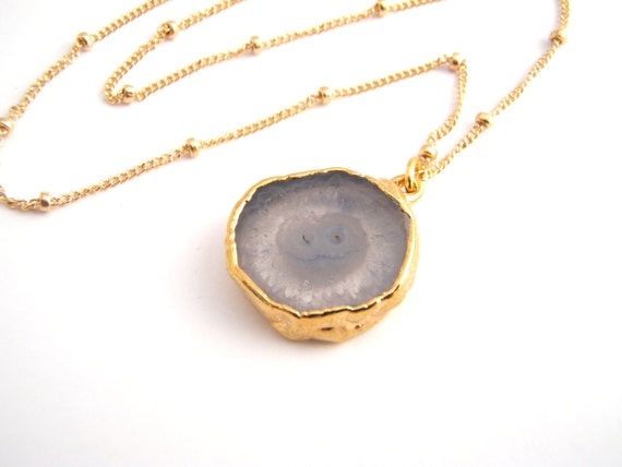 Geode Stalactite Pendant Necklace, 14k Gold Filled Ball Chain, Light Blue, Modern, Dainty