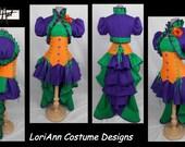 Steampunk Joker Corset, Bustle, Skirt, Hoodie or Ruffle Shrug Top Full Costume - by LoriAnn Costume Designs - CUSTOM 1091