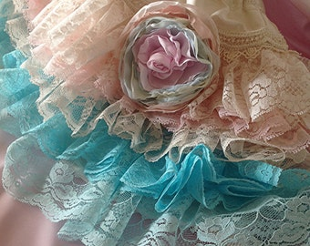 Easter   Vintage lace  ruffled aqua and pale blush by Rosanna Hope for Babybonbons