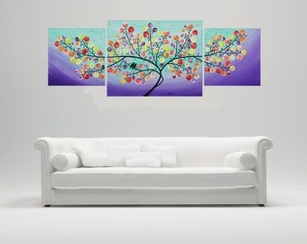 "Colorful art love Birds painting rainbow color Acrylic Painting wall art  Landscape Painting Canvas art ""Lavender Evening"" by qiqi gallery"