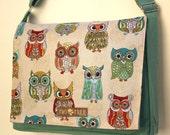 Mint FEATHERED OWLS Print MESSENGER Book Laptop Diaper Bag