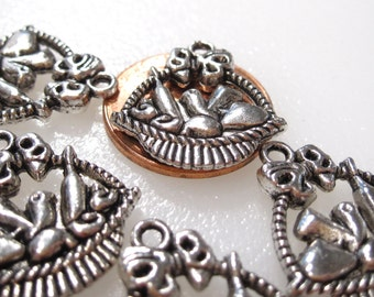 50% Off 12 Gift Basket Charms Antique Silver Tibetan Tone, 3D Double sided C0116