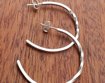 Endless Twist Hoops, Sterling Silver, Small, Hand Crafted, Hoop, Classic, Timeless, Classy, Elegant, Subtle, Traditional, Earrings
