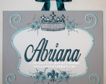 Turquoise Teal Aqua blue Scroll Crest Custom canvas letter name sign wall art baby nursery Hand Painted princess crown flowers fleur di lis