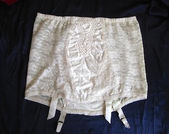 Vintage 1950's Stretch Lace Garter Belt in Nylon Mesh in Cream by Bestform Size 38
