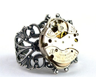 Steampunk Jewelry Steampunk Ring Steam Punk Ring Silver Tone Filigree Ring Designed by London Particulars