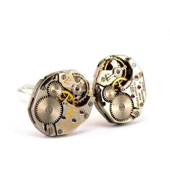 Steampunk Cufflinks - Gorgeous Men's GRUEN Clockwork Steampunk Jewelry Design - Steampunk Cuff Links by London Particulars