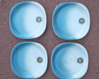 Set 4 Vtg Syracuse Dessert Plates NYU~Restaurant Ware~Airbrush Blue on White